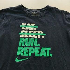 Nike Eat Sleep Run Repeat Tee Graphic T Shirt S
